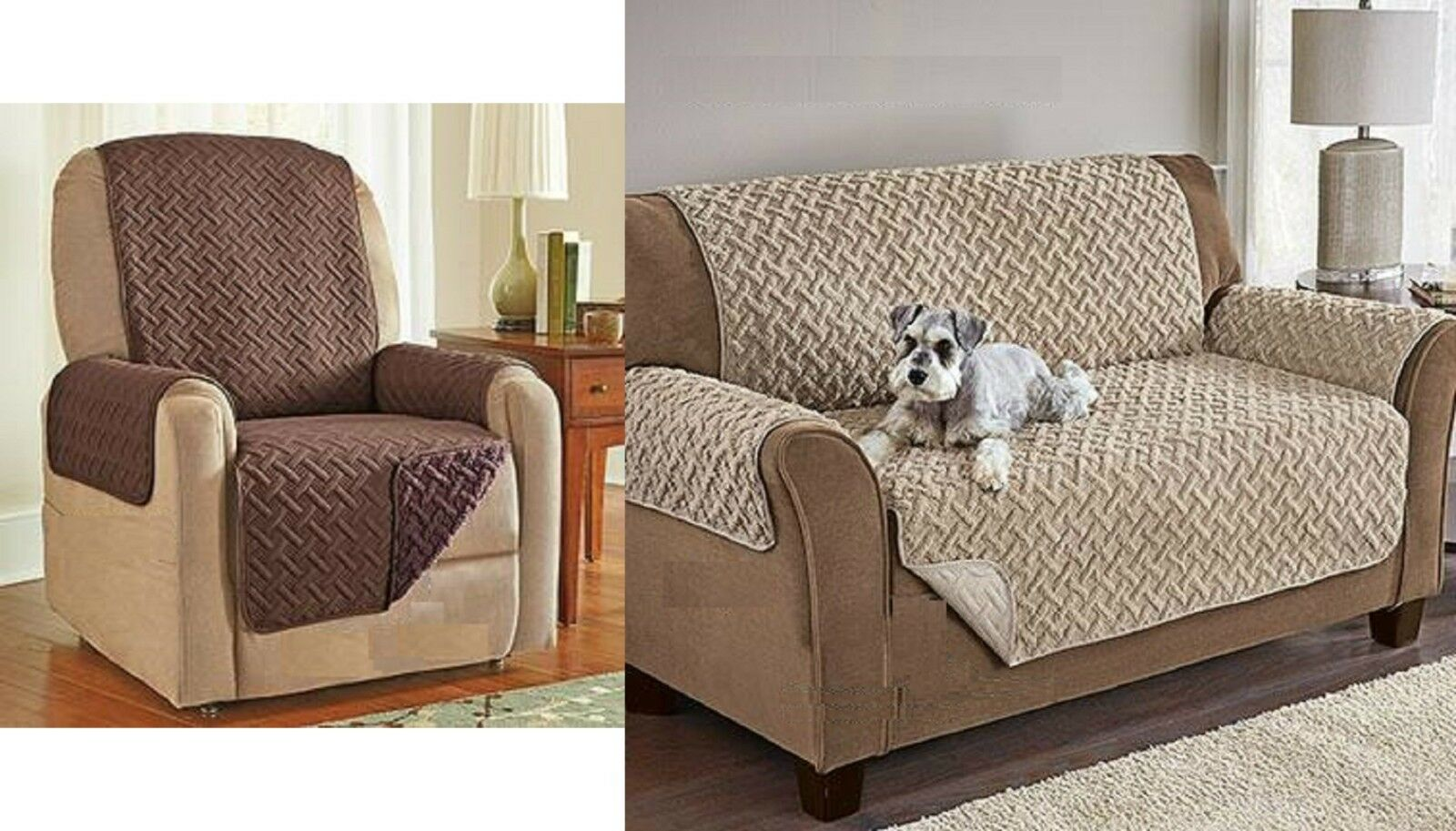 Sherpa Fleece Reversible Recliner Sofa Chair Protector Luxury Brown, Tan QUALITY Furniture