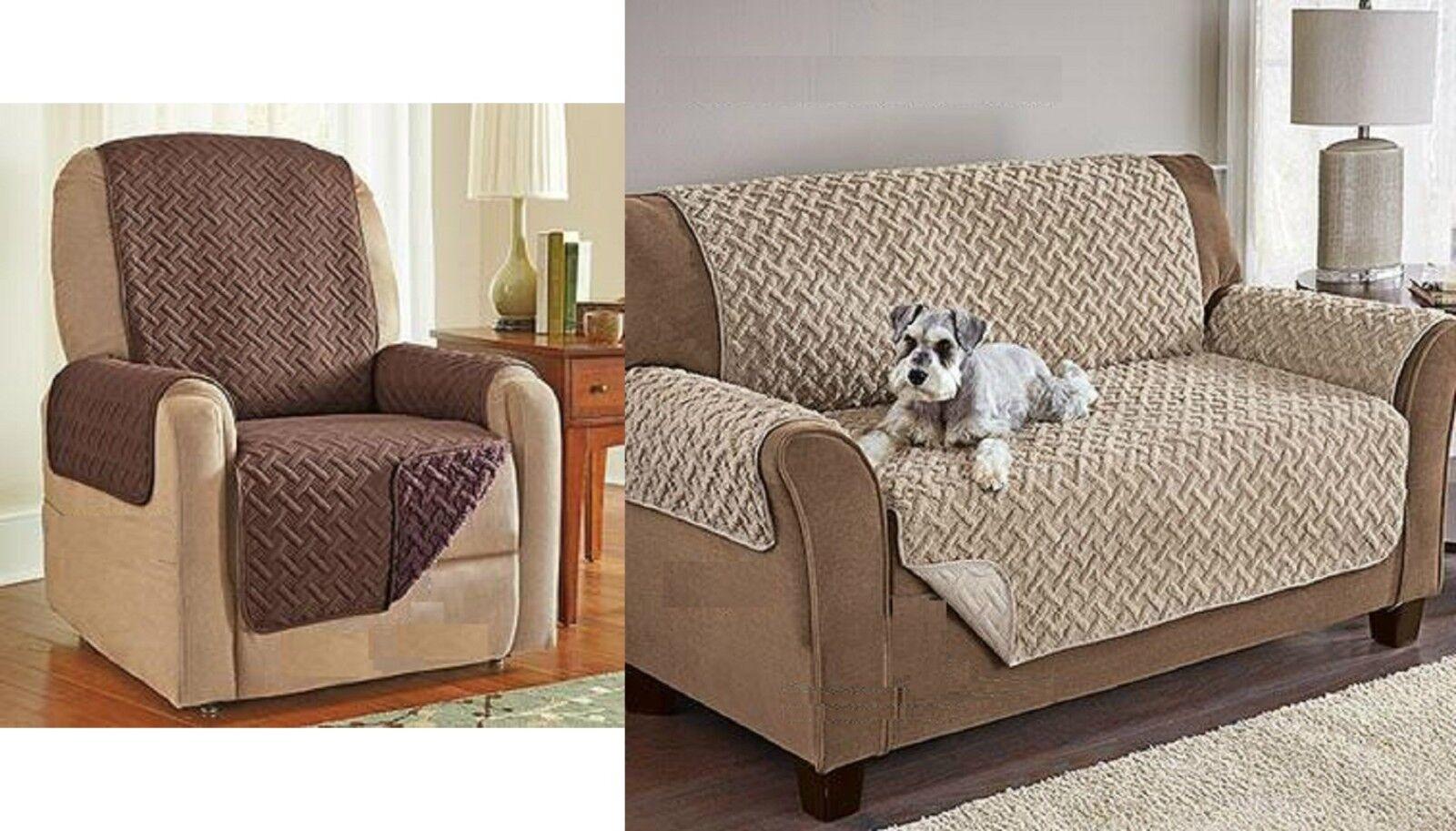 Sherpa Fleece Reversible Recliner Sofa Chair Protector Luxur
