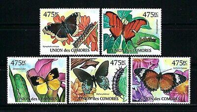 Comoros 2011 Mi#2981-85  Butterflies  MNH Set $13.20