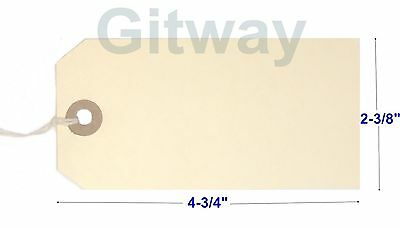 1000- 4 34 X 2 38 Size 5 Manila Inventory Shipping Hang Tags With String