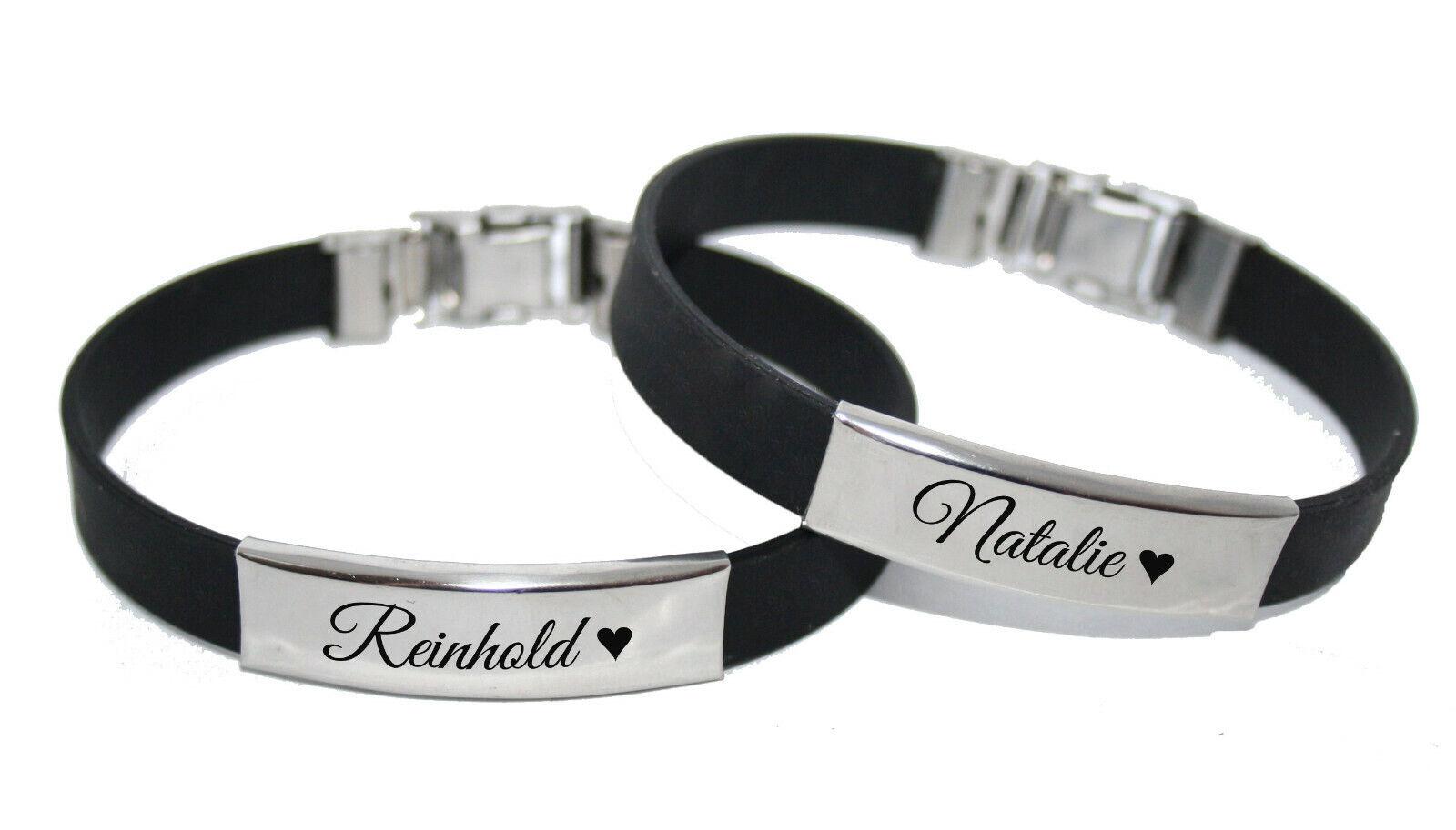 ID Kautschuk Armband mit Edelstahlplatte mit Gravur nach Wunsch Partnerarmbänder