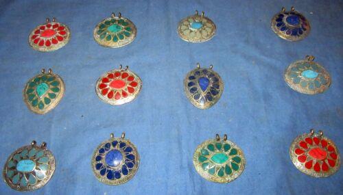 "WHOLESALE LOT05 12 Pendants Lapis Afghan Kuchi Tribal Alpaca Silver 1 1/2"""