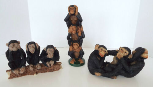 """Wise Monkey Figurines Hear See Speak No Evil 7""""-10"""" Estate Lot 1987 Young"""