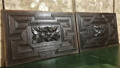 Gothic scroll green man panel Antique french wooden salvaged chair furniture