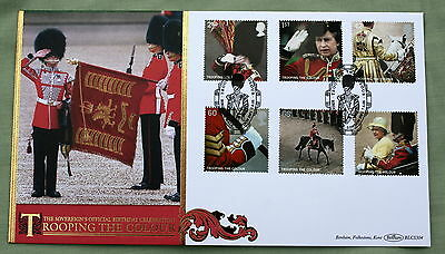 GB TROOPING THE COLOUR 2005 BENHAM FDC BIRDCAGE WALK LONDON HANDSTAMP.