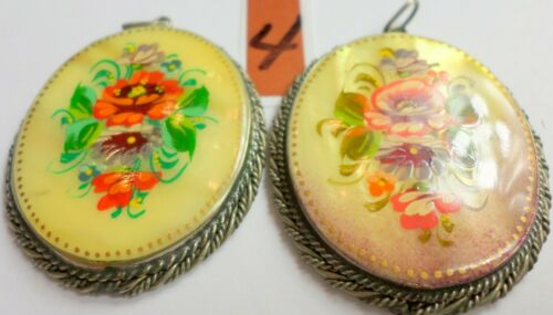 2 Vintage Russian Hand Painted Mother Of Pearl Floral Pendants 45x36mm Signed 4