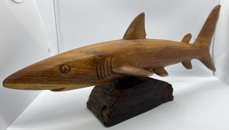 "Carved Wooden Shark 16"" long By Henry '95"