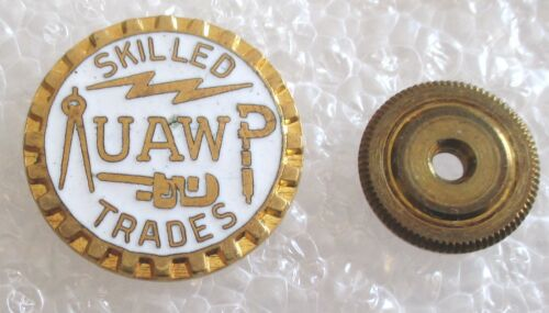 Vintage United Auto Workers Union - Skilled Trades Lapel Pin UAW Screw Back
