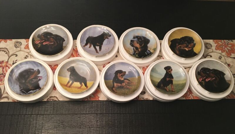 Lot Of Nine (9) Danbury Mint Rottweiler Collector Plates By John Silver