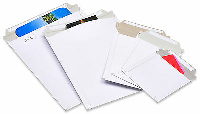 100 6x8 Rigid Photo White Cardboard Envelopes Mailers Stay Flat Bp