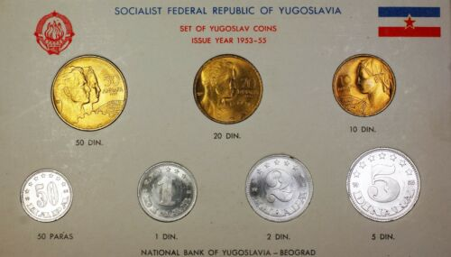 1953-5 Socialist Federal Republic of Yugoslavia 7 Coin BU Mint Set