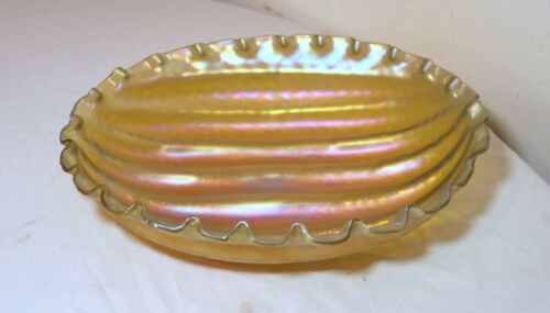 large hand blown Austrian Loetz iridescent aurene centerpiece art glass bowl