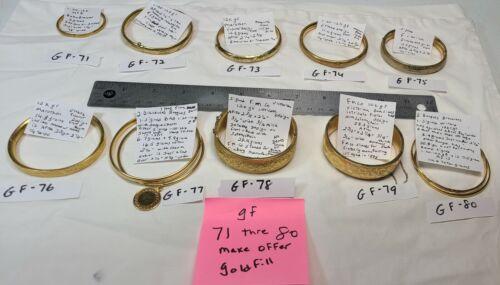 Vtg Signed 1-20-12k GF Gold filled Hinged & Bangle Bracelets Baby FM Co Winard +