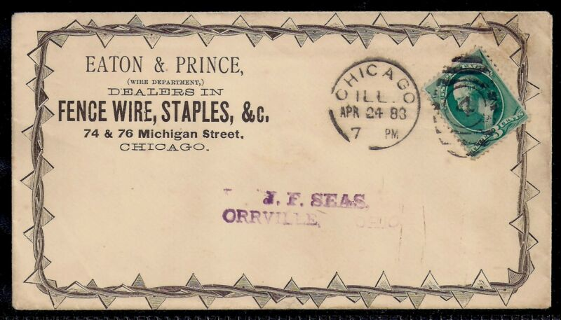 1883 Barbed Wire Allover Advertising Cover- Chicago to Orrville, Ohio