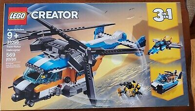 LEGO 31096 Creator 3-IN-1 Twin-Rotor Helicopter Jet And Hovercraft Building Set