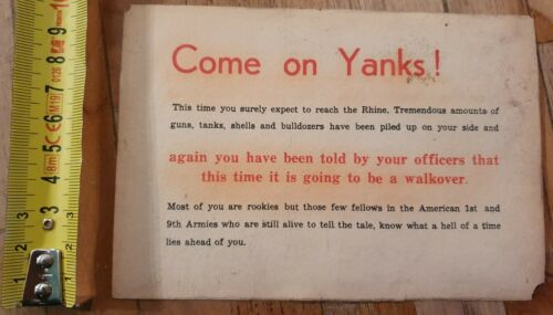 Original WW2 German American propaganda leaflet: Come on Yanks!
