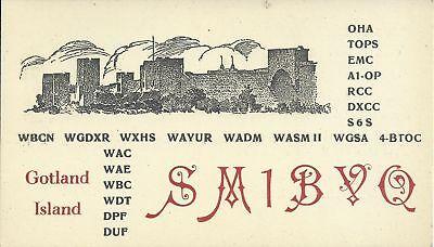 OLD VINTAGE SM1BVO GOTLAND ISLAND SWEDEN AMATEUR RADIO QSL CARD