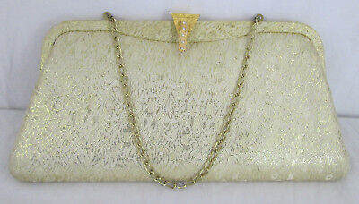 """Vintage 1960s Handbag Gold Clutch Chain Small Lined Purse 10""""x5"""" Shiny Evening"""