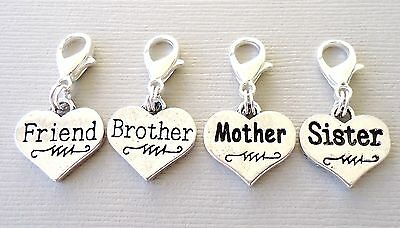 Pendant Heart Family Clip On Charm with Lobster Clasp for Link Chain C74 - Family Link Charms