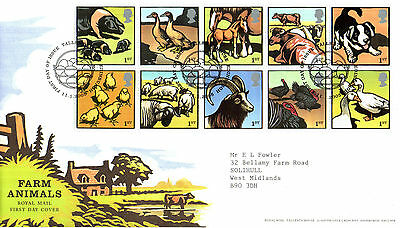 11 JANUARY 2005 FARM ANIMALS ROYAL MAIL FIRST DAY COVER BUREAU SHS