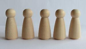 Waldorf Steiner Inspired set of 5 Wooden Peg People Dolls / Figures - GIRL