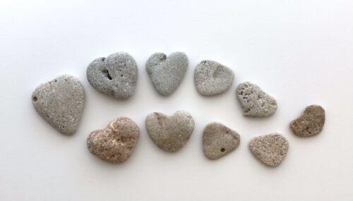"10 Natural Heart Shaped Beach Stones 1""-1.5"" Love Rocks anniversary wedding #V1J"