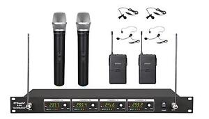 4 Channel VHF Handheld & Lapel Headset Wireless Microphone System (Brand New)