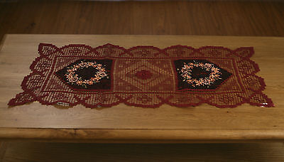 Lace Table Runner Handmade Burgundy with Ribbon Embroidery Home Decor 88cms NEW