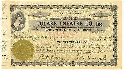 Tulare Theatre Company, Inc. Stock Certificate. San Francisco, California