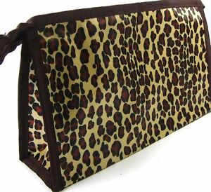 Makeup Cosmetic Bag LEOPARD PRINT Tan Brown & Black 24cm x 14cm Free Post