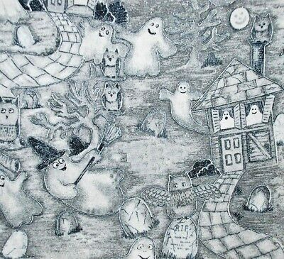 Halloween scenic Haunted House Gost Toile glitter Fabric FQ Fat Quarter