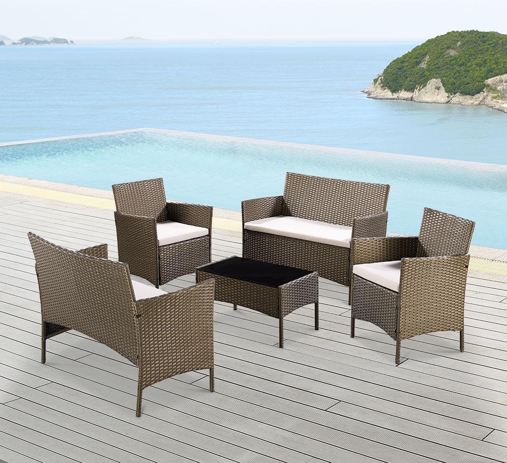 Garden Furniture - 5 Piece Golden Brown Rattan Garden Set Patio Furniture Set Brand New