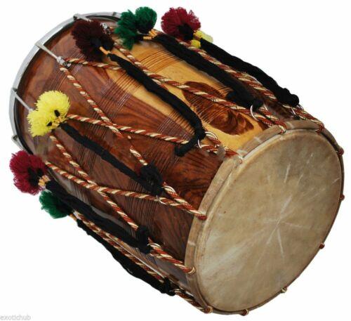 Punjabi Bhangra Dhol ,Musical Instrument ,Sheesham Wood, Natural, Barrel Shaped