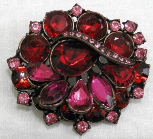 Vintage Red & Pink Rhinestone Brooch  S