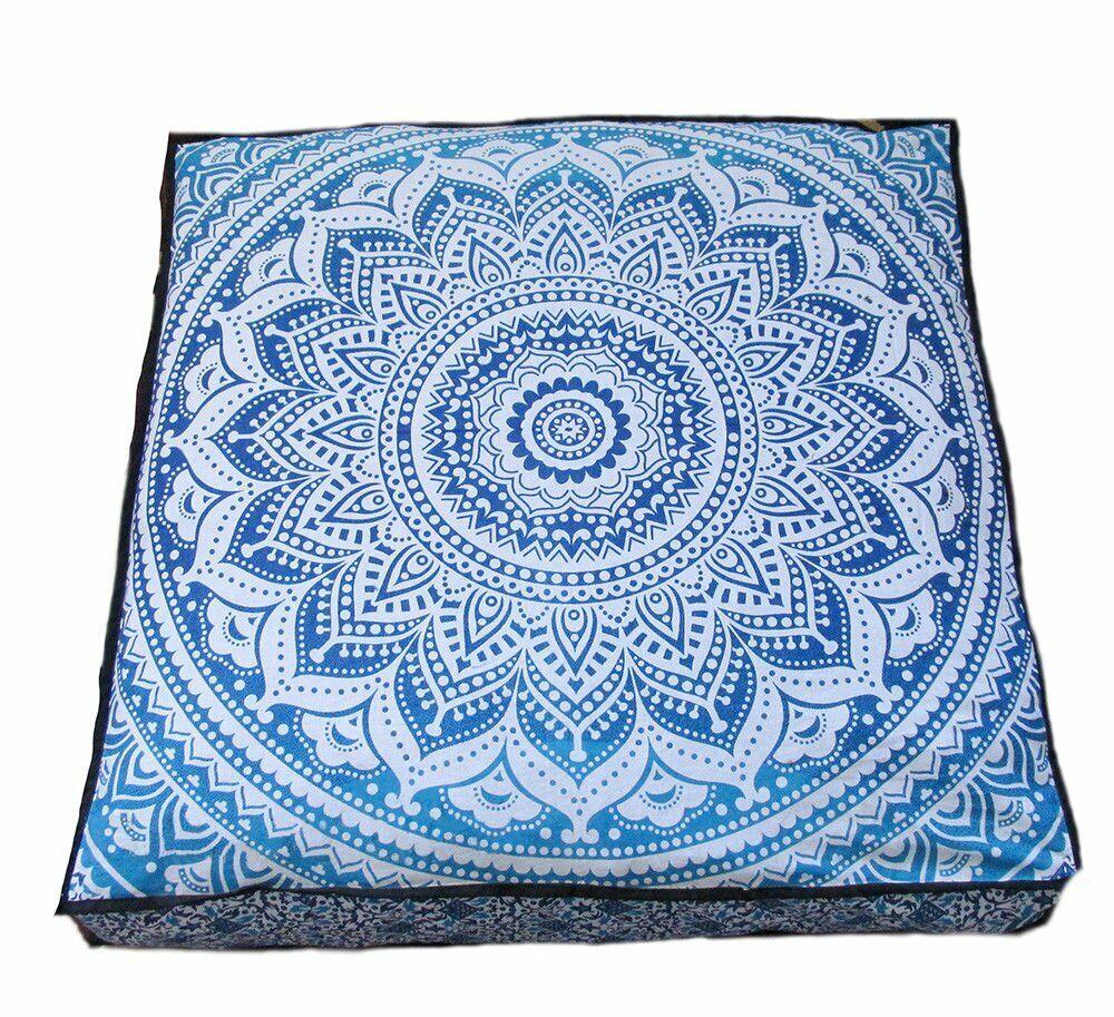 Large Ombre Mandala Floor Pillows, Square Cushion Cover, Dec