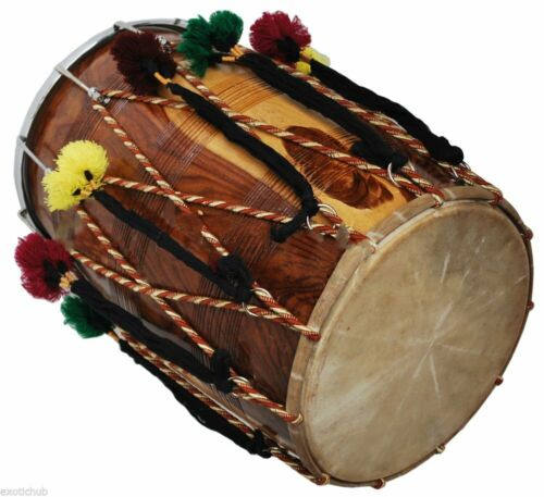 Bhangra Dhol Drum, Mango Wood, BROWN, Barrel Shaped, Padded