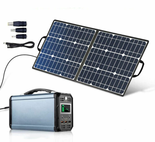 300W Solar Generator with 50W 18V Portable Solar Panel Foldable Solar Charger