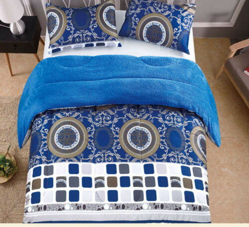3 Piece Blue/ Brown Reversible Sherpa Borrego Comforter/Blanket King Size 6lbs Bedding