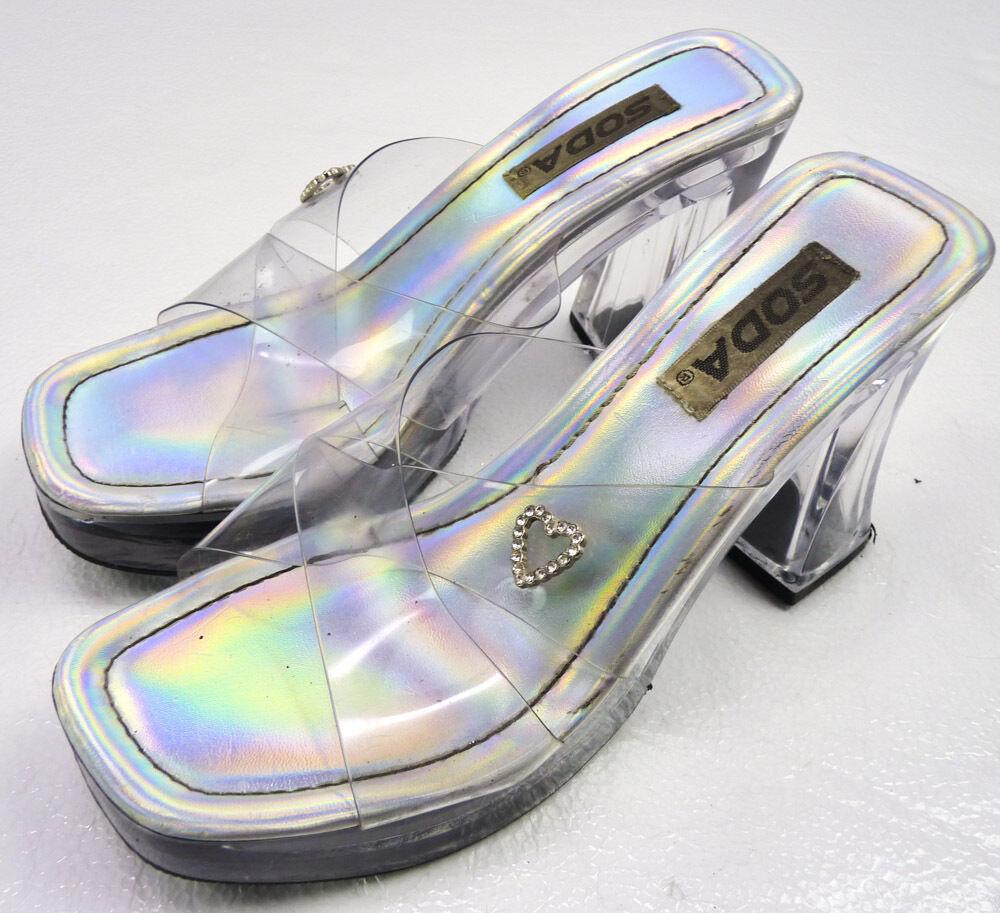 550923aa77af7 Vtg 90s Clear Acrylic Chunky Heel Slip-On Sandals Heels Iridescent ...