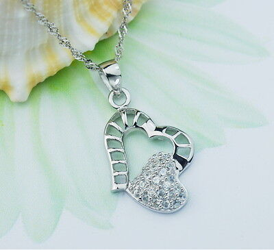 Women White Gold Plated Sterling Silver Heart Connected Zircon Pendant Necklace Fashion Jewelry