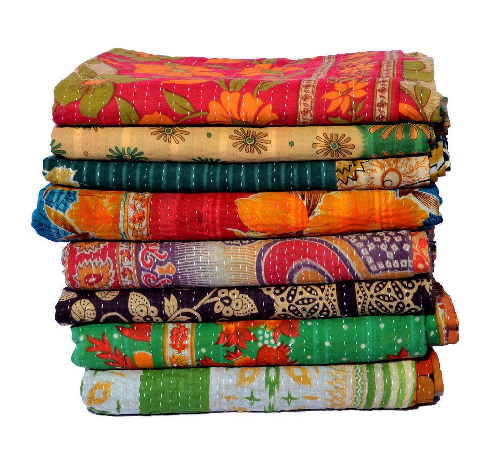 Indian Handmade Twin Cotton Kantha Quilt Wholesale Lot Vinta