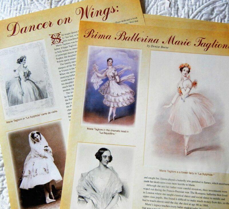 8p History + Paper Doll - Marie Taglioni French Ballerina & Queen Victoria Dolls