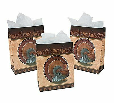6 Large Thanksgiving Turkey Gift Bags Goodie Bags FREE SHIPPING - Thanksgiving Goodie Bags