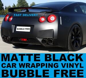 Matte-Black-Vinyl-Wrap-1520-x-300mm-Roll-Bubble-Free-Air-Channels-Car-Wrap