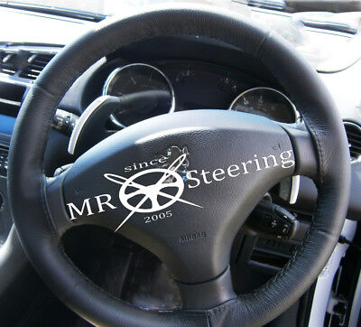 FOR PEUGEOT 308 07-13 REAL BLACK ITALIAN LEATHER STEERING WHEEL COVER
