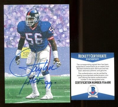5f2aa0c92 Lawrence Taylor Signed Goal Line Art GLAC Autographed w HOF Giants Beckett  BAS