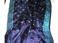 Dark blue-purple 100% silk fabric with trim