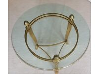 Decorative Round Glass Table with Gold Table legs