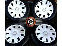 """15"""" Seat steel wheels, trims, tyres. Good condition."""
