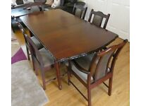 Solid Wood Mahogany Finish extendable Dining Table with 6 chairs (incl. 2 carvers) - can deliver